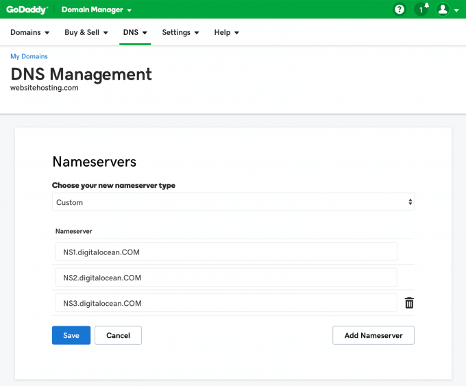 digitalocean nameservers at godaddy